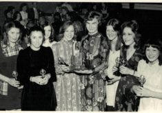 1972 Anne Miles presenting Stevenage League winners trophy to Bowes Lyons Club