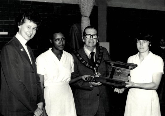 West Midlands Captains Sue Keal (Seniors) and ?????? (Under 21) receiving the Trinidad & Tobago Trophy from Councillor Goodchild, Mayor of Rushcliffe and Annette Cairncross