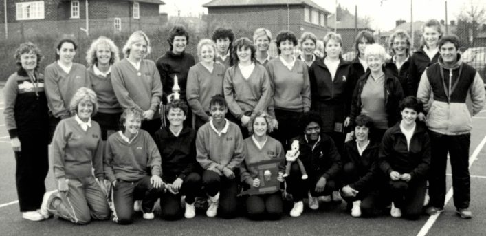 The South Region squad of Seniors and Under 21s Back row Gill Frackleton, Bev Crook, AN, Marilyn Flook, Chris Maylor, AN, AN, AN, AN, AN, AN, Sheila .. , AN, Pat Harris, Gwyn Foster, AN, Ray Marsh Front row Annette Watson, Linda Turner, Jo Bailey, Deanne Dechaussey, AN, Marg Haas, Julie Oliver, AN.