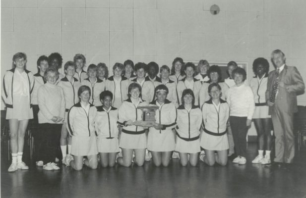Winners West Midlands Region complete squad of Seniors and under 21s with the Mayor of Shifnal, Councillor M Woods Front Row:    Colette Thomson ???  ??? Sharon Bent Ann Keighley ??? Back Row:   Player in Jumper on left Josie Allbut Lady on right in jumper Joy Smallman and Sheila Perks next to her on the left In the centre is Joan Bryan The blonde player behind Sheila Perks is Gaynor Perrins The player next to Sheila Perks is ? Allbut