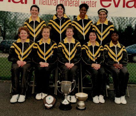 Winners senior section Birmingham: Back row left to right - Yvonne Gamby, Sharon Harding, Jesslyn Parkes, Sharon Bent.  Front row left to right - Sandra Turner, Jenny Whatcott, Colette Thomson, Anne Keithley, Joan Bryan