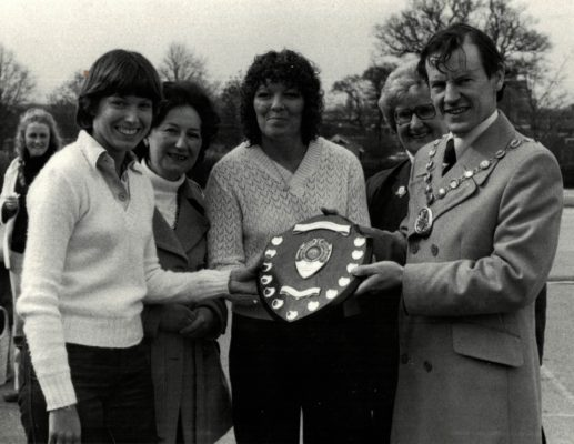 Essex Metropolitan winners of East Region Inter-counties Tournament.  Councillor Dr. A Yerst presenting the trophy to Pat Meadows (centre) and Gill White (far left) with Pat Taylor (right) and ????