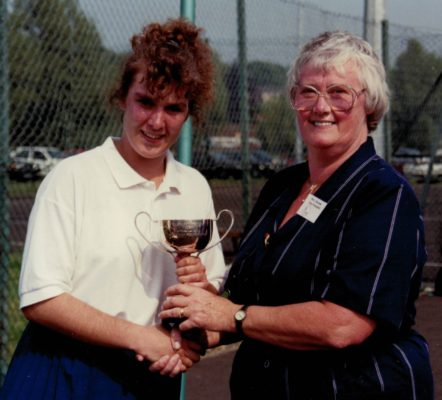 Jean Bourne, AENA Vice President presenting the Under 21 Winners  Cup to Nicky Gabriel, East Region