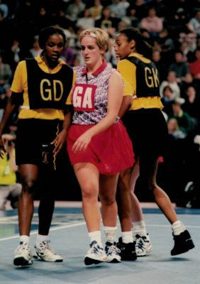 Tracey Neville (GA) getting into position