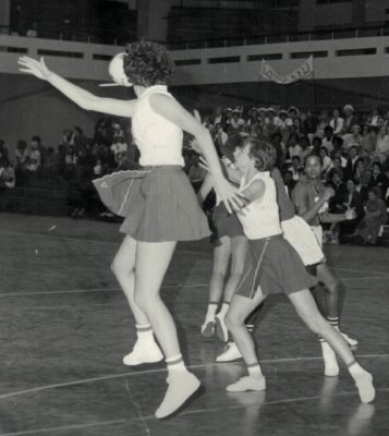 Cathy Hickey and Anne Miles defending