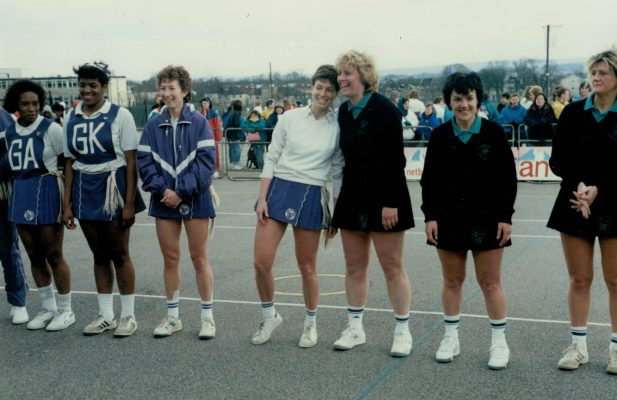 Joint Winners line up.  Left to right:  Essex Met - ???, ???, Jillean Hipsey, Gill White,  East Essex - ???, Maureen Lee, ???