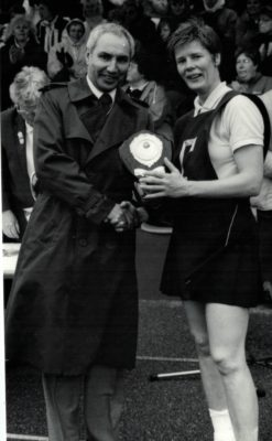 Receiving the winners trophy, Colette Thompson