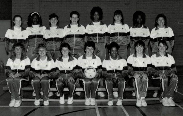 England Senior Squad Back row:  Alison Paton (Surrey), Trudy Papafio (Beds), Fiona Murtagh (Essex Met), karen Fenlon (Cheshire), jesslyn Parkes (Birmingham), Kendra Lowe VC (beds), Joan Bryan (Birmingham), Betty Galsworthy Coach. Front row:  Christine Daglish (North Durham), Annette Fooks ( Kent), Sally Young (Kent), Sheila Edwards C (Surrey), Sandra Fairweather (Surrey), Alison Keyte (Surrey), Lucia Sdao (Derbyshire)