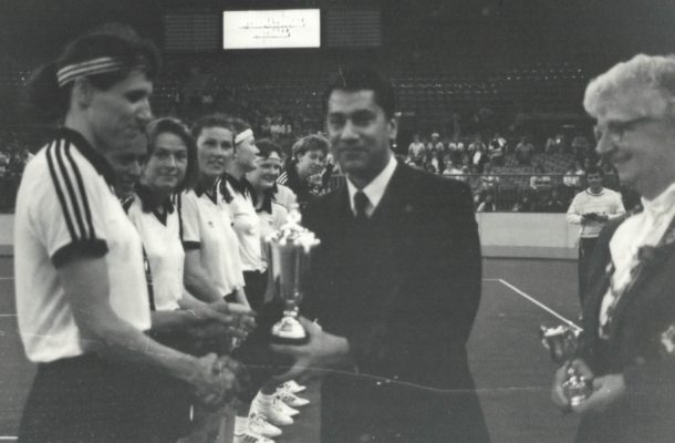 New Zealand presented the Morrant winners trophy by Mr D Jajodin, along with Pat Taylor, President, Wembley 1988