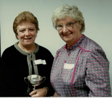 1988 Jean Hawkins, Staffordshire receiving the Muriel McNally Award from Pat Taylor, AENA President