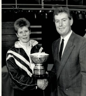 Geoff Young, Daily Telegraph presenting the Cup to Colette Thompson Birmingham