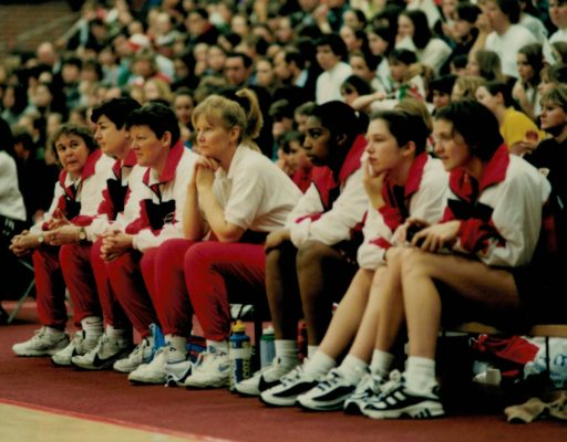 England bench: Left to right: Mary Beardwood (Coach), Denise Egan, Lucy Faulkner (Team Manager), Mo Collins (Physio), Rose St Louise, Chantel Mortimer, Kathryn Burgess