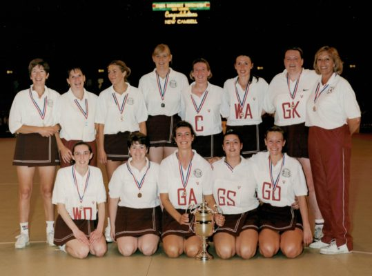 New Cambell, winners 1999 Wembley Clubs Knockout Tournament. Back Row: Jillean Hipsey: Louise Drewer: Katie Nichols: Corrine Reynolds: Vicky Diss: AnnMarie Muller: Tanya Sanderson: Pat Watson Coach: Front Row: Pippa Hamond: Tracey Daly: Lisa Gross (Capt) Lyndsey Armitage: Jenny Blackford