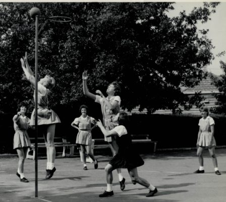Australia practice session.  From the left in the light uniforms are Margaret Caldow, Wilma Ritchie, Joyce Brown, Jeanette McIver, and Rose Noseda, all from State of Victoria.