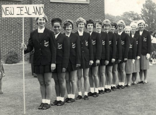 New Zealand Squad with their star scorer Colleen McMaster, seventh from the left, with 313 goals in six matches.