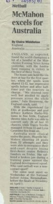 First Test Manchester Evening News Arena on 25th March 2001