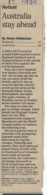2nd Test National Indoor Arena, Birmingham on 28th March 2001