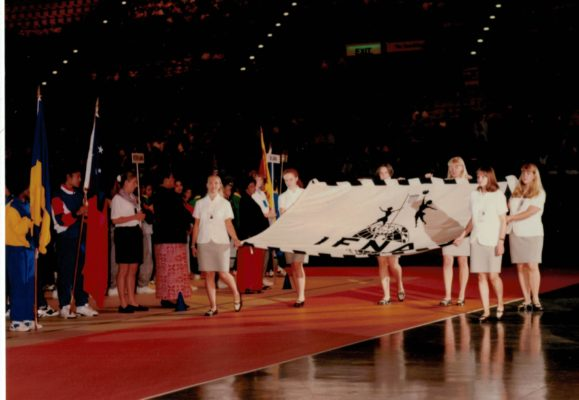 Arrival of the IFNA Flag during the Opening Ceremony.