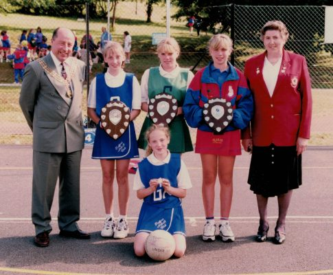 The winning Captains with the Mayor of Portsmouth, Cllr Dorian Attwood and June Jack, AENA Vice President. Left to right:  Trafford (U12 winners), Teagte (U14 winners), Oldham (U13 winners), kneeling Trafford (U11 winners)