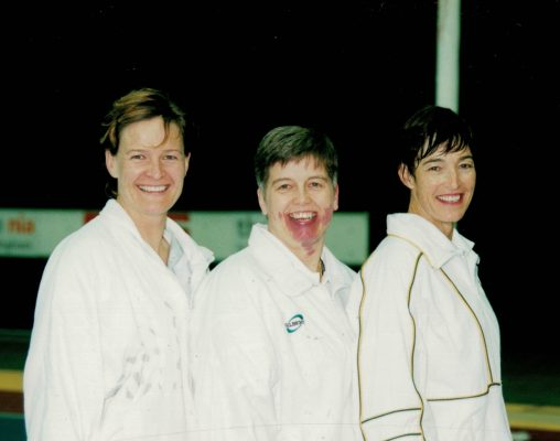 Umpires Maggie Du Plessis, Janet Young, Kirsten LLoyd