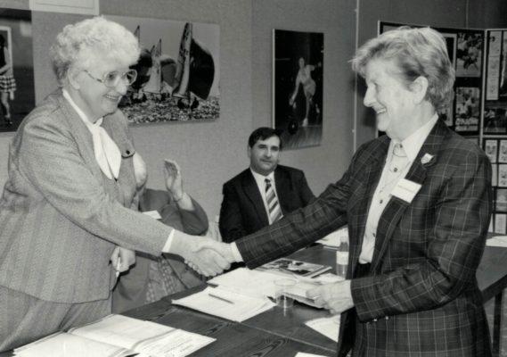 Nora Ashworth receiving her Life Membership from Pat Taylor, President