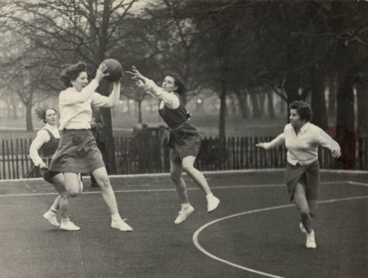 County match on Clapham Common, Surrey v Essex with left to right 'Titch' Nettleton, Jean Heath, ???, Nora Ashworth