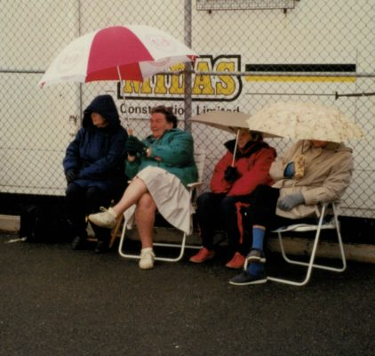 Spectators at the 1997 Regional Tournament - good weather as usual!!!!! ???, Mary French, Nora Ashworth, Phyllis Ridgwell