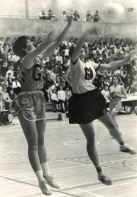 Gill Bickerstaff taking the pass under pressure.