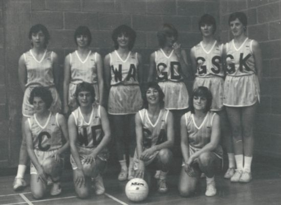 East Region Squad in their experimental 'loose' kit.  Revolutionary in 1982. Back Row:  Rowan Edbrook, ???, Kim Lambden, ???, Gill Bickerstaff, Maddy Dwan. Front Row:  C - Sue Penfold, WD -Liz Collin, GA - Jillean Hipsey, ???