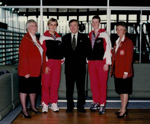 Jean Bourne, Tracey Neville, Australian High Commissioner (?), Lisa Stanley, Joan Mills.