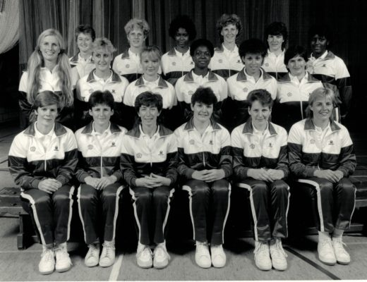 Top Row:  Sally Young (Kent), Angela Long (N Bucks), Jesslyn Parkes (B'ham), Helen Cadman (Cheshire), Kendra Lowe (Herts), Margaret Farrell ( W Yorks)<br/> Middle Row:  Heather Crouch (Coach), Wendy Toogood (E Essex), Ann Cush (Cumbria), Joan Bryan (B'ham), Sharon Bent (B'ham), Lorna Skinner (Physio)<br/> Front Row:  Colette Thomson (B'ham), Susan Keal (Middx), Jillean Hipsey (Captain, Essex Mat), Shgeila Edwards (Surrey), Karen Fenlon (Cheshire) Margaret Lewellen (E Essex)