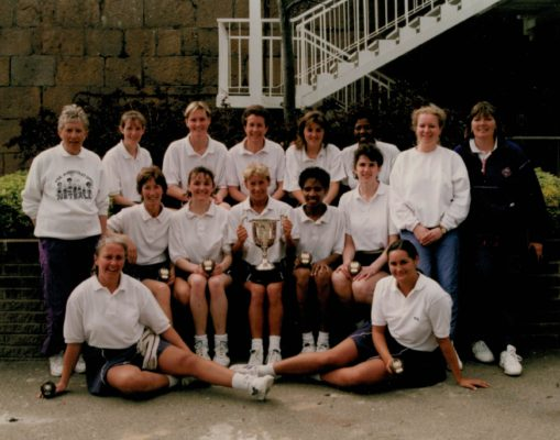 Essex Met Senior Winners Coach Les Jones back row left with many other well known faces including Jillean Hipsey and Fiona Murtagh middle row left and Pat Meadows back row right
