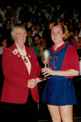Jean Bourne, President presenting trophy to Under 21 winners, Durham