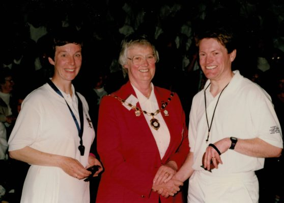 Jean Bourne, President with Mary Stanley and Dicken Adams, umpires of Under 21 final.