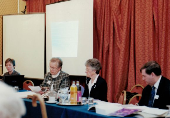 Conducting the proceedings - Liz Nicholl CEO, Janet Wrighton Vice Chair, Joan Mills Chair, Gordon Padley Treasurer