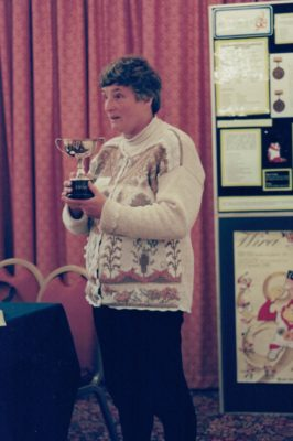Jean Jones thanking the members for the Muriel McNally Trophy award