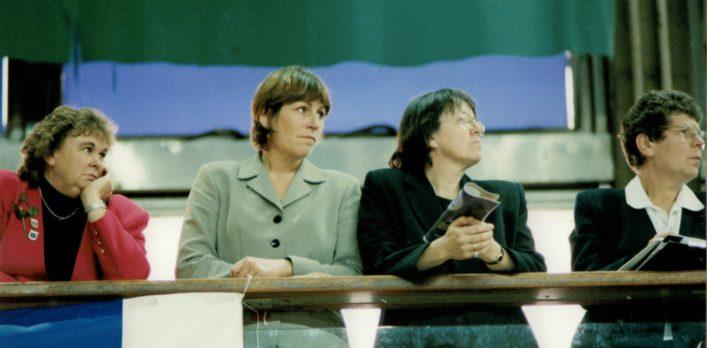 Mary Beardwood (England Coach), Pauline Harrison (AENA CEO), Gill Oliver (Performance staff), Liz Broomhead (England Coach)