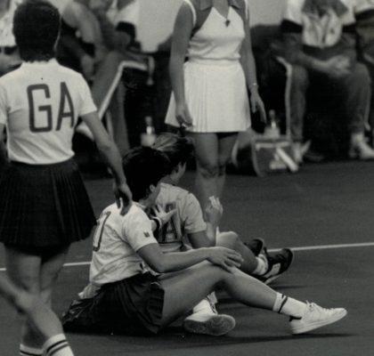 Woops, Sue Keal (WD) in a tussle, with Jillean Hipsey (GA) looking on | David Katz