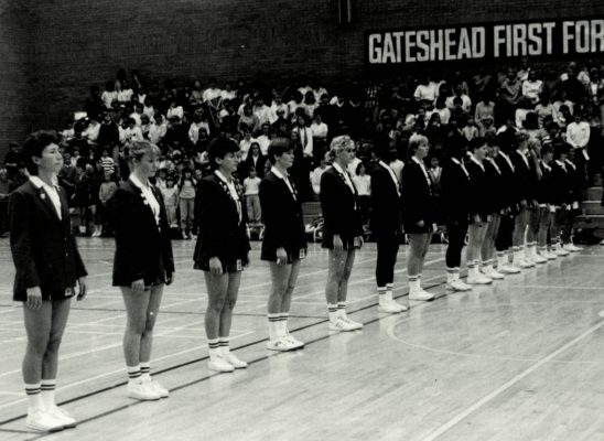 England line-up at Gateshead for match against Australia. Left to right: Jillean Hipsey, Ann Cush, Sue Keal, Colette Thomson, Wendy Toogood,, Joan Bryant, Maggie ???, Jess Parkes, Helen Cadman, Heather Crouch, Gerry Cornwall, Lorna Skinner, Anne Stephenson