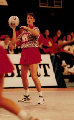 Helen Lonsdale feeding in the ball in