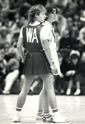 Sue Collins WA ready for the pass and defended by Pat Curran Welsh WD | Eileen Langsley