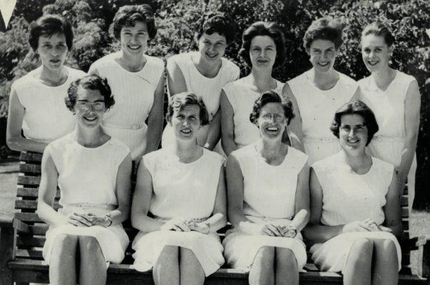 England Squad in Jamaica Back Row: Jo Wiggins, Ella Fraser, Annette Cairncross, Margaret Eve, Margaret Macdonald, Margaret Silcock Front Row: Ann Norvell, Jean Robinson (Captain), Josephine Higgins, Margaret Barlow