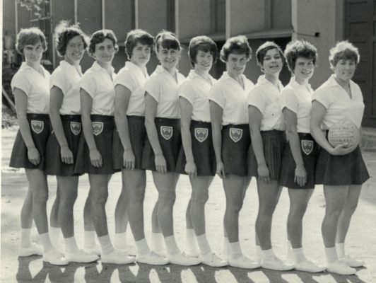 England Squad of 10 selected to go to Australia for the 2nd World Tournament in Perth (August 1967) and afterwords to tour Australia 4th from right in the squad is Margaret MacDonald. She usually played Centre.    She was an inspirational PE teacher at Enfield County School and then a lecturer at Bedford College of Physical Education.   Married Ian Emmans.