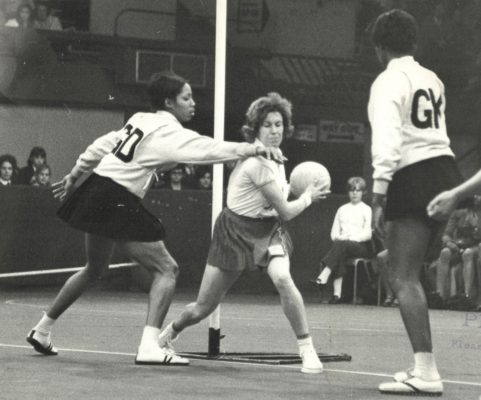 Judi Day (GA), England Captain, takes possession of the ball