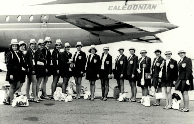 England contingent for the 3rd World Tournament in Jamaica. On our way to Jamaica: Eunice Charles Smith Margaret Thompson Pat Watson Carol Percy Cathy Hickey Judy Heath Sally Hands Annie Miles Judy Day Linda Alison (Taylor) Liz Kelly Pat Taylor Mary French Rita Reece Winnie Watling