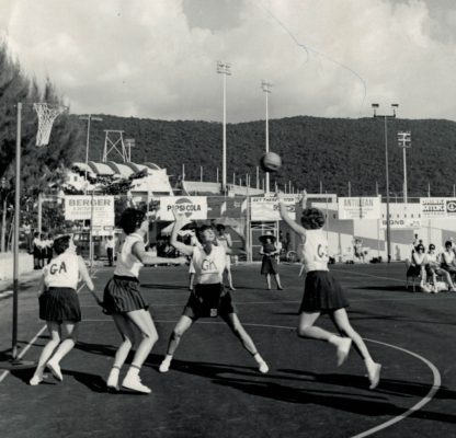Anne Miles (GK), England Captain, defending a shot for goal by Scotland | Granville Allen for the Jamaica Tourist Board