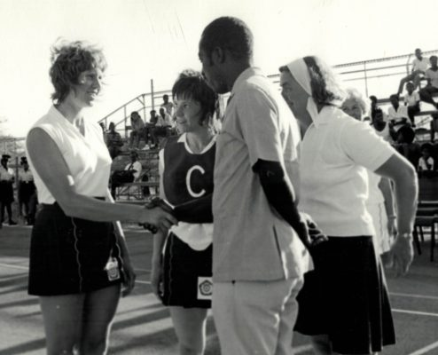 Mr Mel Brown, Jamaican Parliamentary Secretary for sport being introduced to Alison Aldred by Marion Eccles, England Under 21 Captain with Mary French looking on 30/3/72