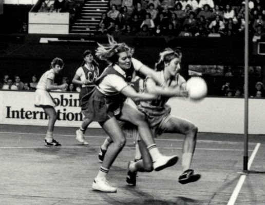 Pat Meadows (GS) in a tussle for the ball