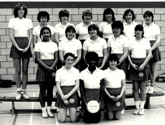The East Region CENTEX Squad 1980/81 Back Row:  Lynn Burton, Georgina Pallett, Sue Hammerton, Sally Williams, Sharon Medlin, Rowan Edbrooke, Anne Read. Middle Row:  Viola Pritchett, Pat Sweeney, Dawn Jackson, Jane Robinson, Karen Vickers. Front Row:  Siobham McNenemy, Louisa Noel, Linda Scott.