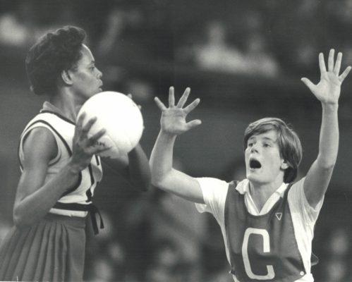 Colette Thompson (C) defending | Eamon McCabe